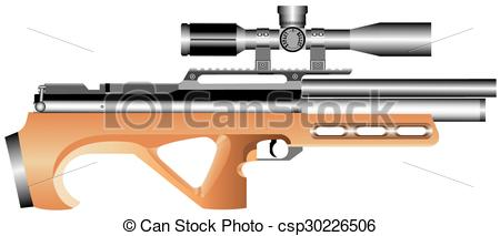 Vector air rifle clipart logo png transparent library Vector Clipart of Air rifle.eps - Pneumatic truncated rifle with ... png transparent library