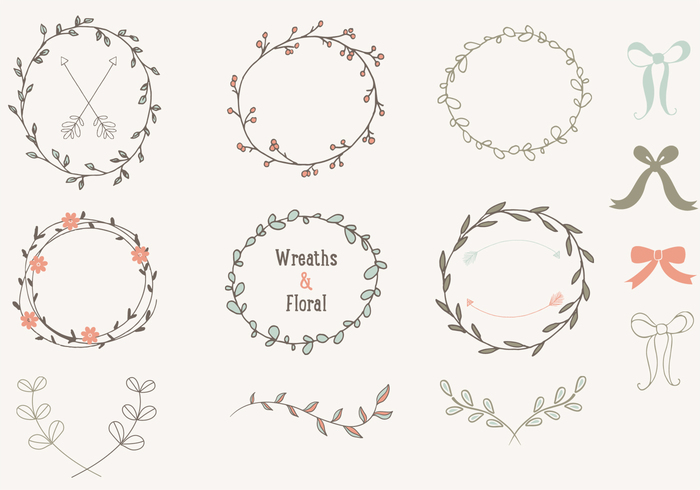 Vector art collection download banner black and white download Hand Drawn Laurels Wreaths Vector Collection - Download Free ... banner black and white download