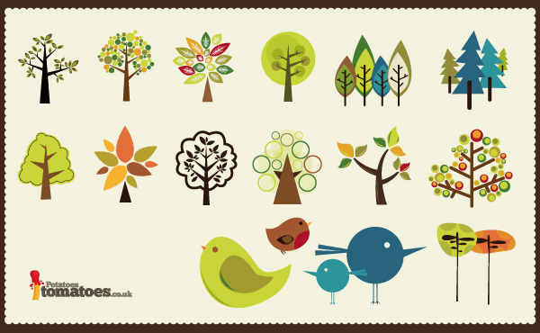 Vector art collection download clipart black and white Tree Vector Collection   Download Free Vector Art   Free-Vectors clipart black and white