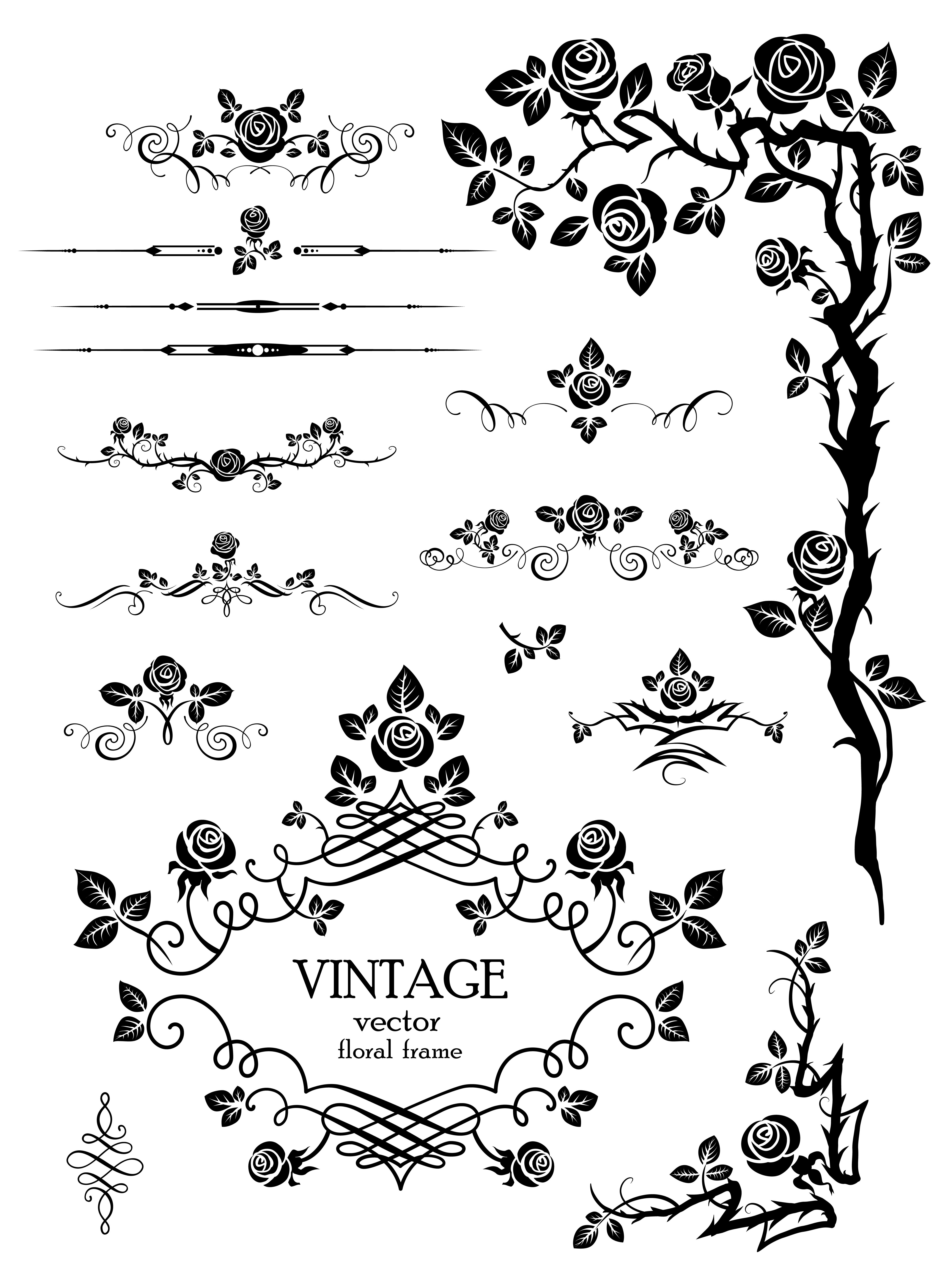 Vector art flowers free download vector royalty free download Flowers silhouette lace 03 vector Free Vector / 4Vector vector royalty free download