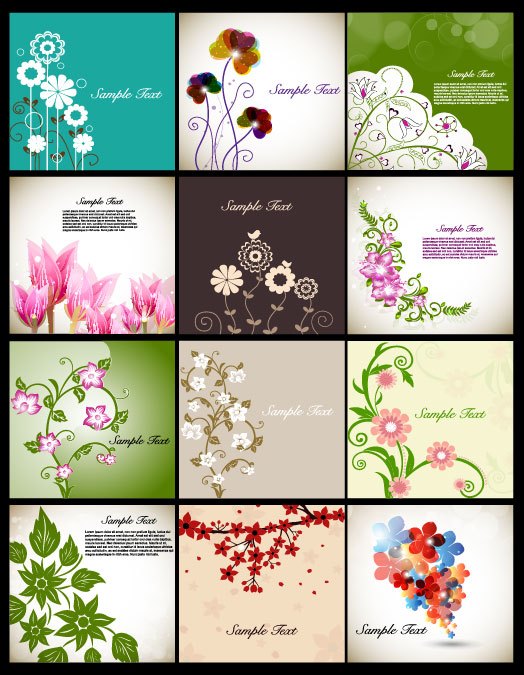 Vector art flowers free download clip free library Pretty flower background vector graphic set 02 - Vector Background ... clip free library