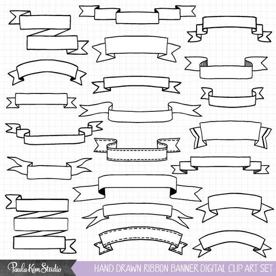 Side page ribbons clipart picture library Hand Drawn Clipart, Ribbon Banner Clip Art, Commercial Use ... picture library