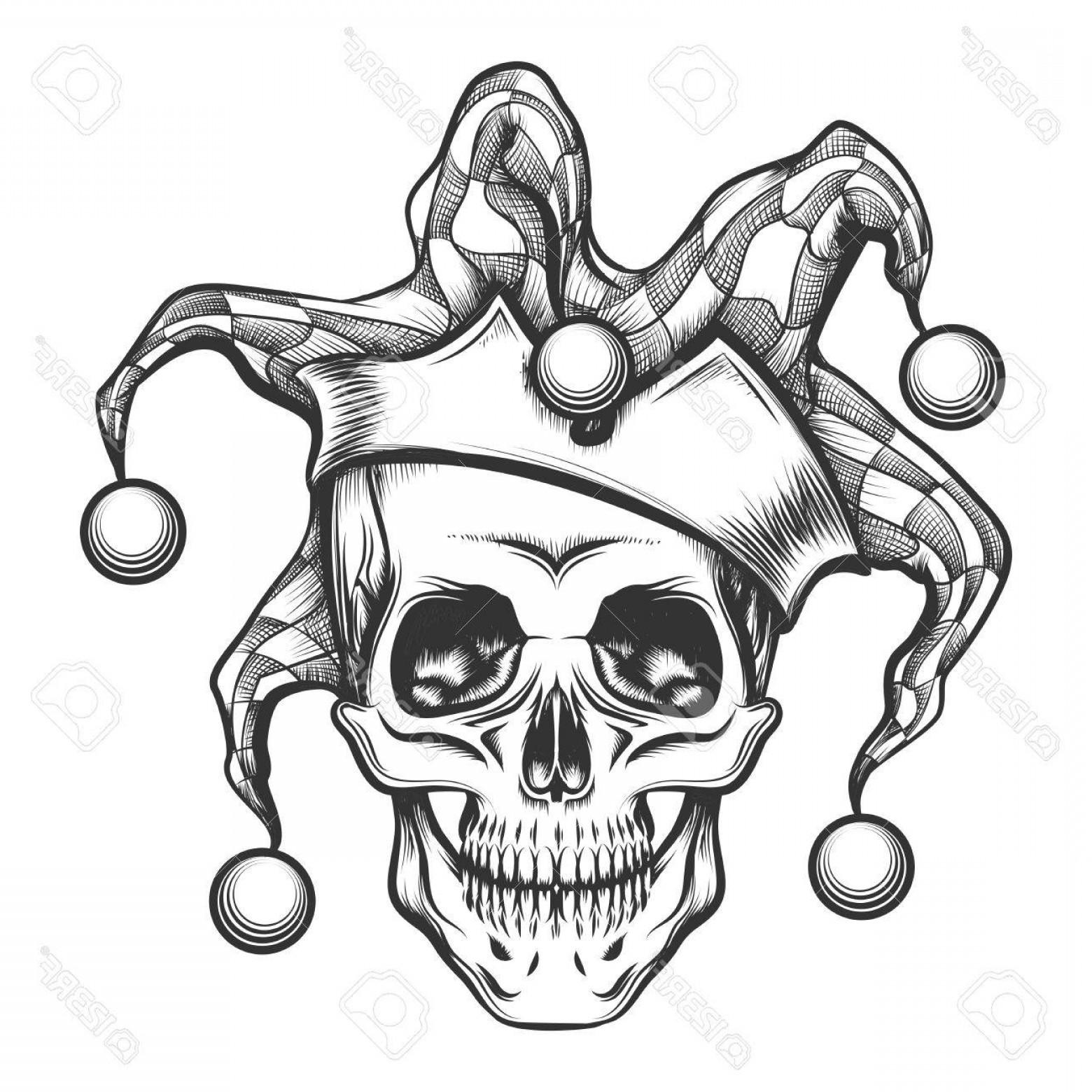 Vector beast skull clip art black and white download Photostock Vector Hand Drawn Jester Skull In Fools Cap ... clip art black and white download