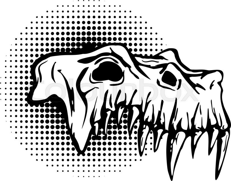 Vector beast skull vector black and white library Skull of danger beast with huge fangs. ... | Stock vector ... vector black and white library