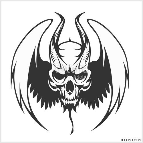 Vector beast skull clip art black and white Fierce Gargoyle-Fantasy Winged Beast\