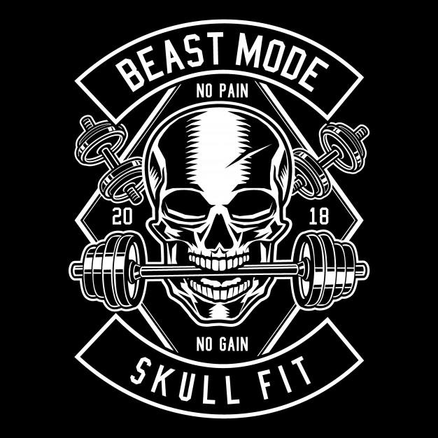 Vector beast skull jpg black and white Skull barbell Vector | Premium Download jpg black and white