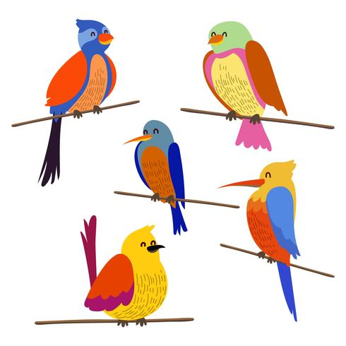 Vector birds clipart banner freeuse stock Perch Bird Clipart Set - Download Free Vectors, Clipart ... banner freeuse stock