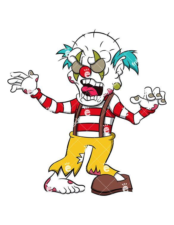 Vector clipart cartoon creepy picture freeuse Freaky Zombie Clown | Zombie Clipart | Vector clipart ... picture freeuse