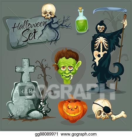 Vector clipart cartoon creepy svg royalty free Vector Clipart - Cartoon scary elemens for halloween. Vector ... svg royalty free
