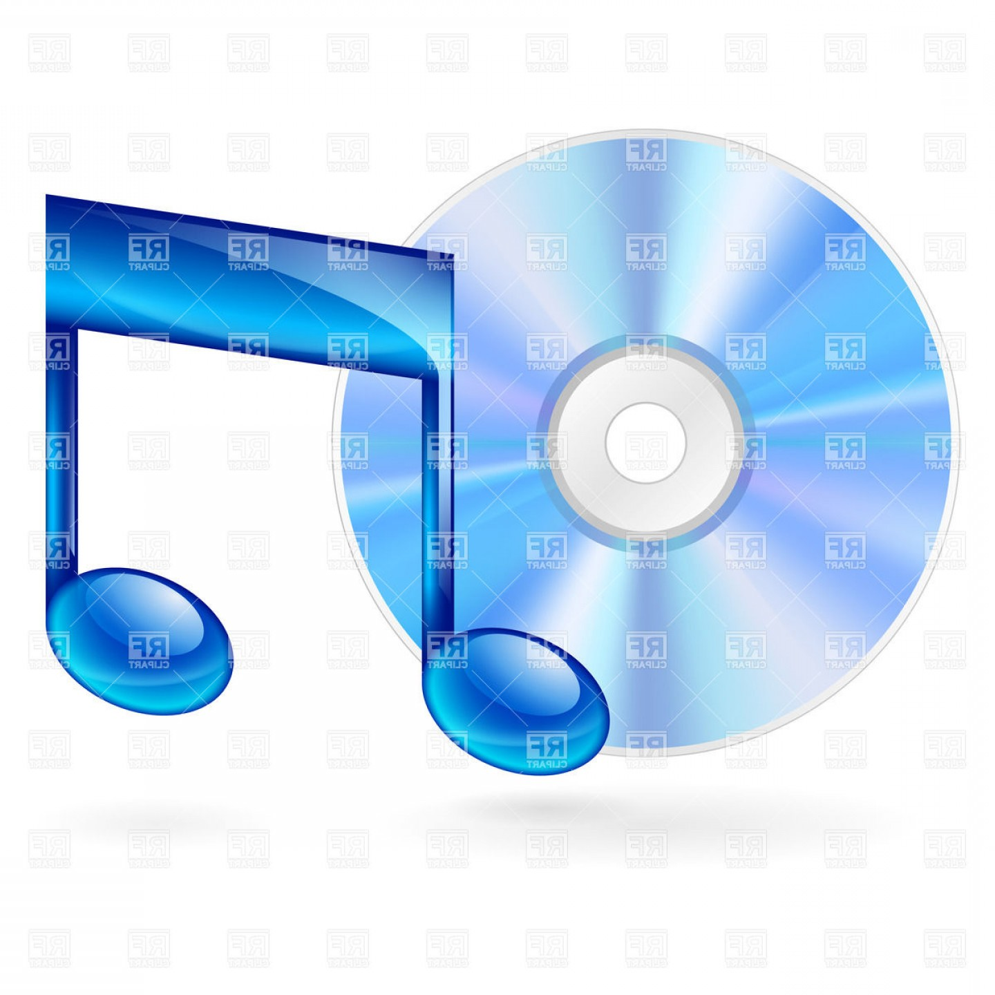 Vector clipart cd freeuse stock Cd Disc With Blue Musical Note Vector Clipart | SOIDERGI freeuse stock