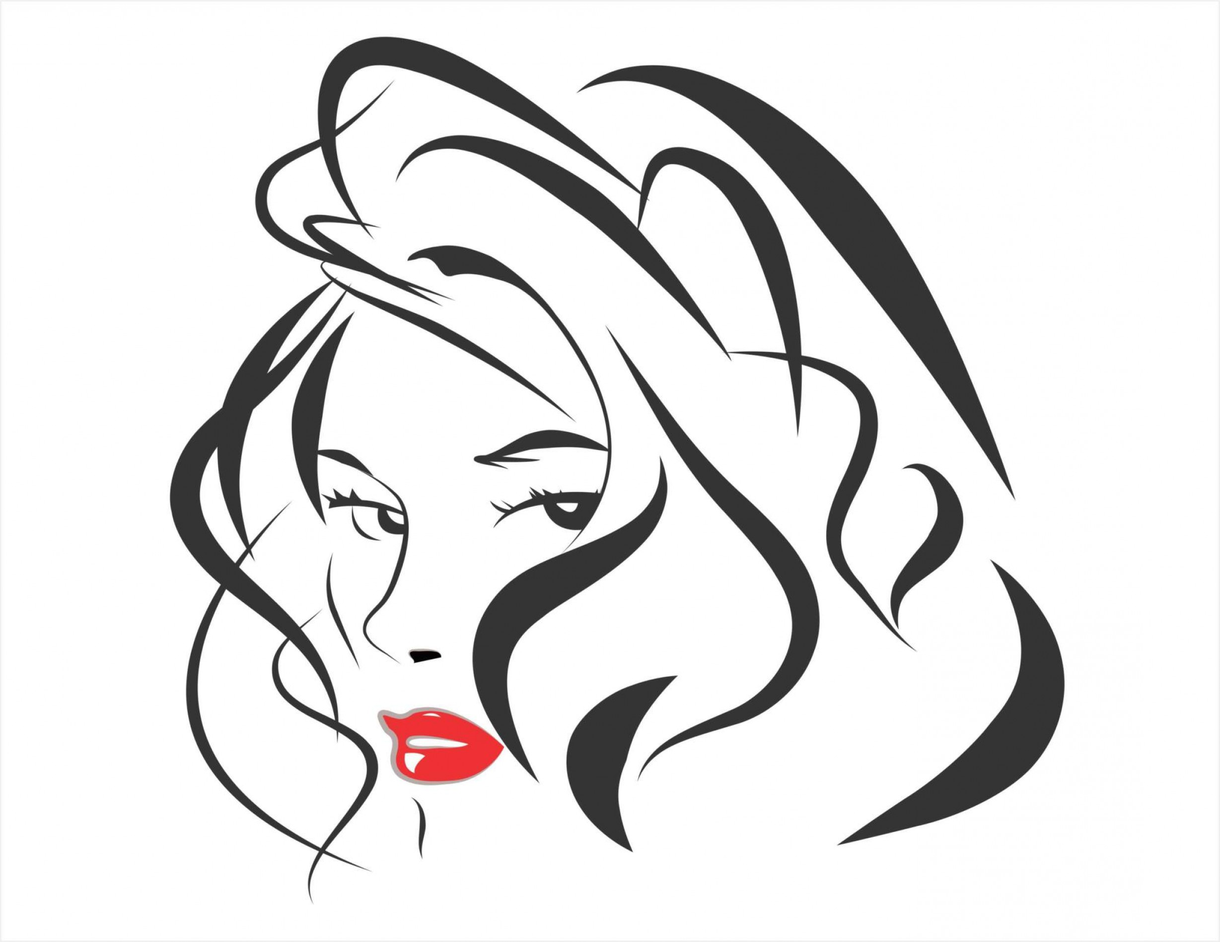 Vector clipart cdr file jpg transparent download Vector Line Art Beautiful Woman Cdr File Created Coreldraw X ... jpg transparent download