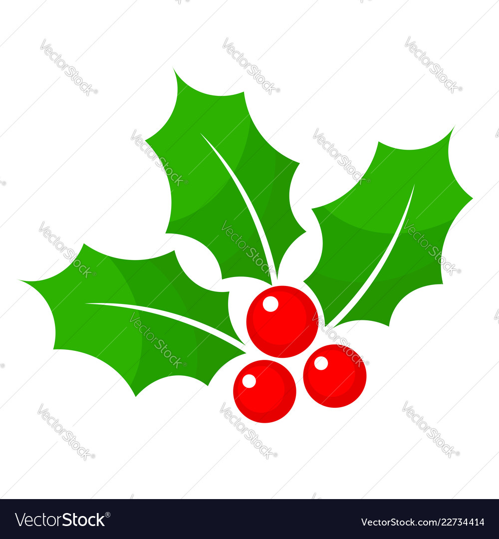 Vector clipart christmas holly jpg freeuse download Christmas holly berry flat icon in cartoon style jpg freeuse download