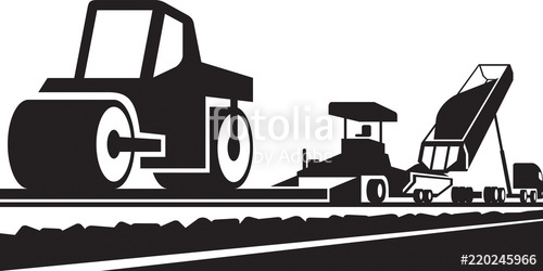 Vector clipart concrete paving clip art library stock Laying an asphalt pavement on a road - vector illustration ... clip art library stock