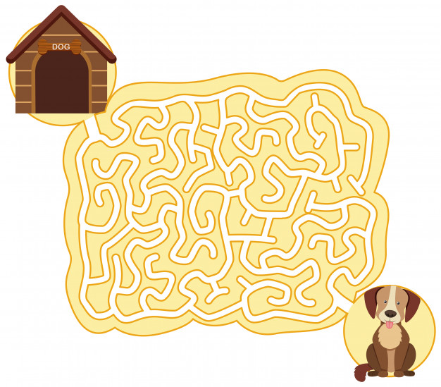 Vector clipart dog for game graphic library Dog maze puzzle game template Vector | Premium Download graphic library