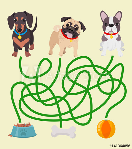 Vector clipart dog for game clip royalty free library Cute dog educational maze game. Vector illustration of maze ... clip royalty free library