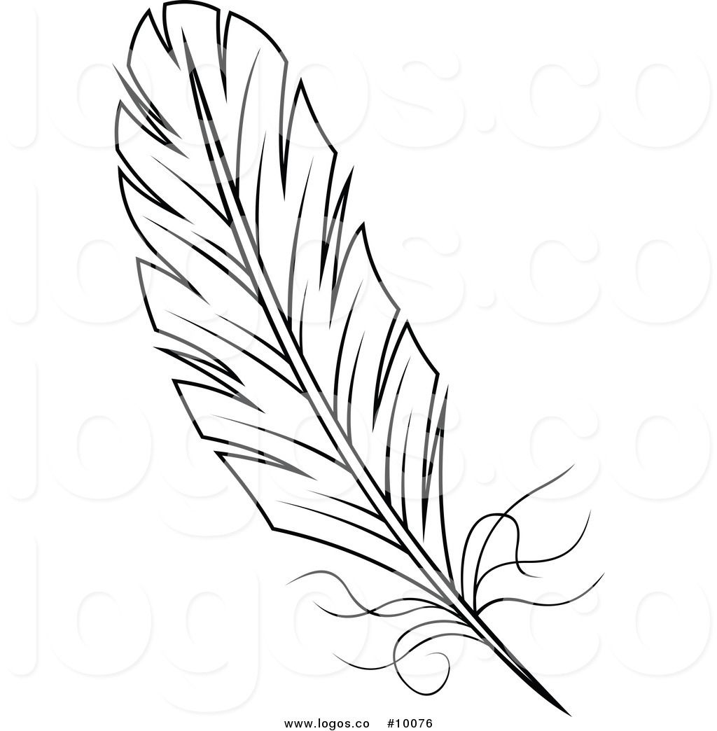 Vector clipart feather free vector transparent library Royalty Free Vector of a Black and White Feather Logo | Minc ... vector transparent library