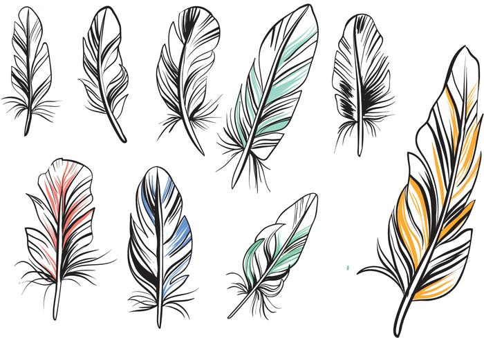 Vector clipart feather free vector black and white download Free Vintage Feathers Vectors - Download Free Vectors ... vector black and white download