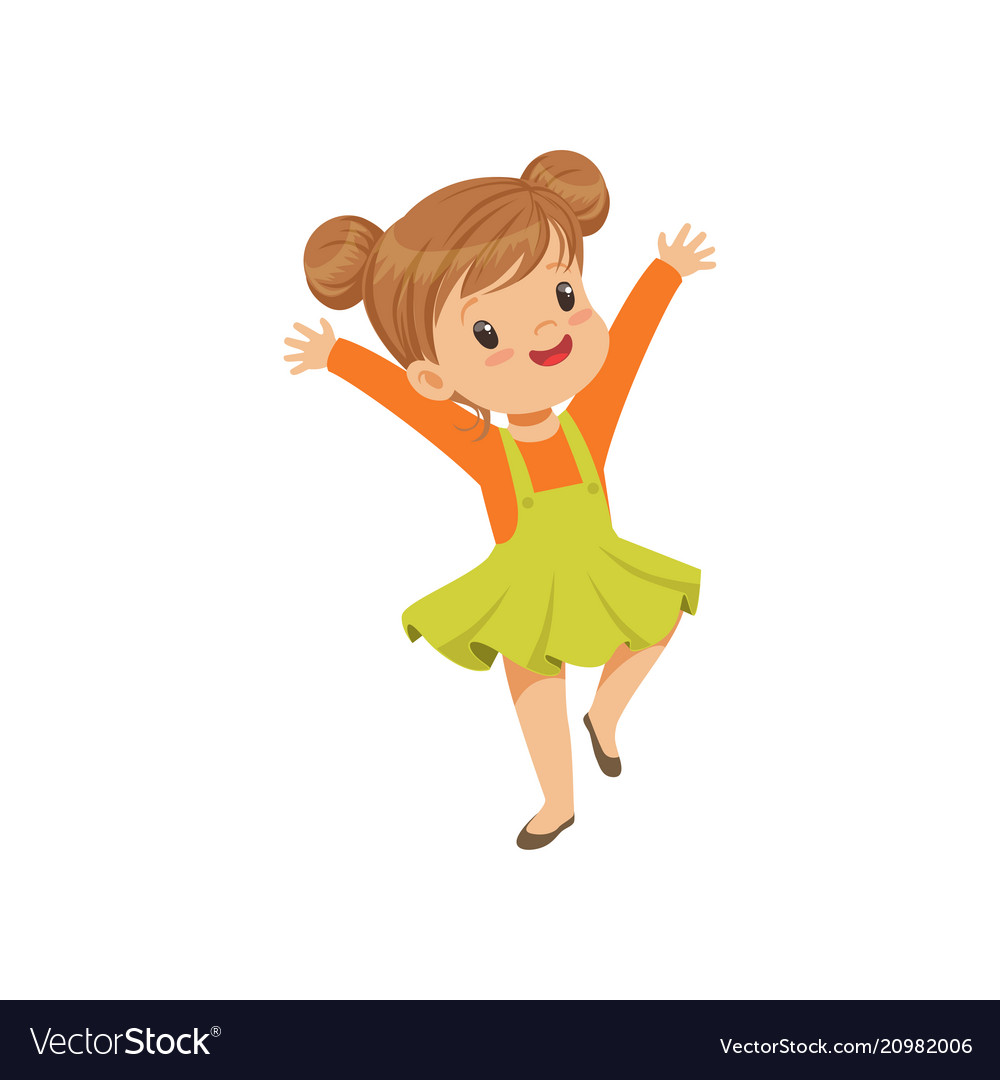 Vector clipart girl dancing clipart library download Cute happy little girl dancing in casual clothes clipart library download