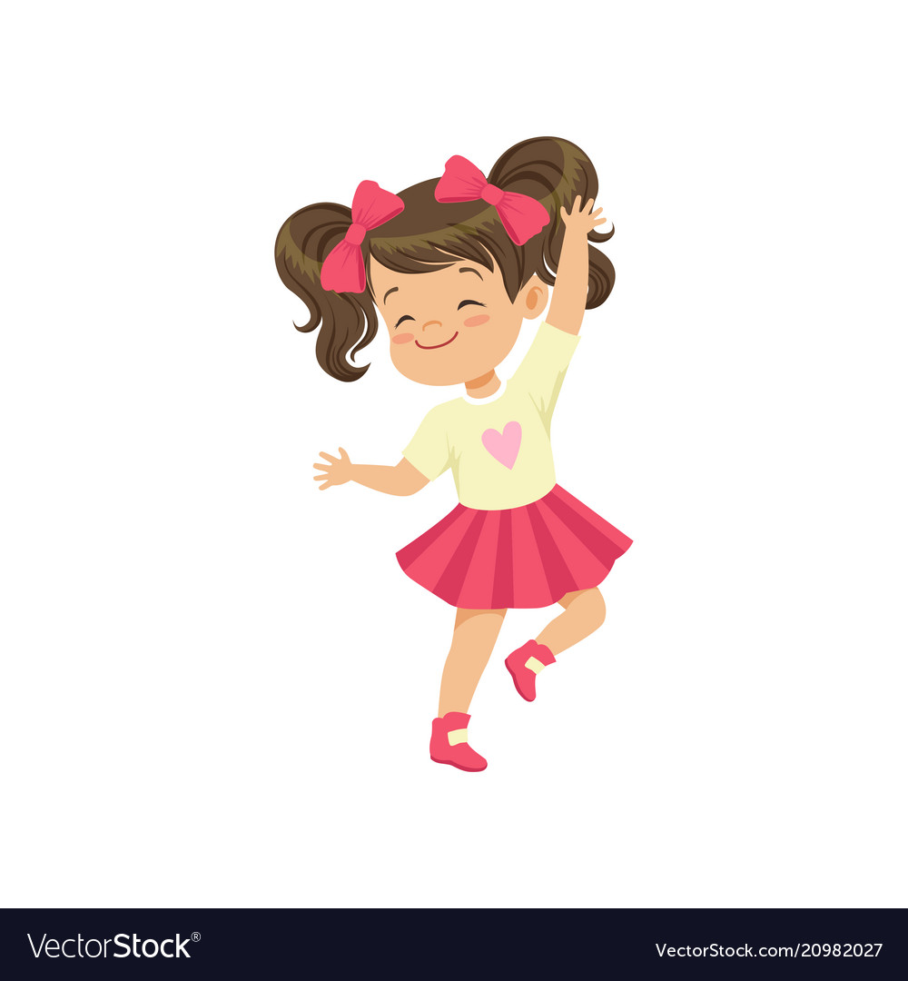Vector clipart girl dancing picture freeuse Lovely brunette little girl dancing picture freeuse