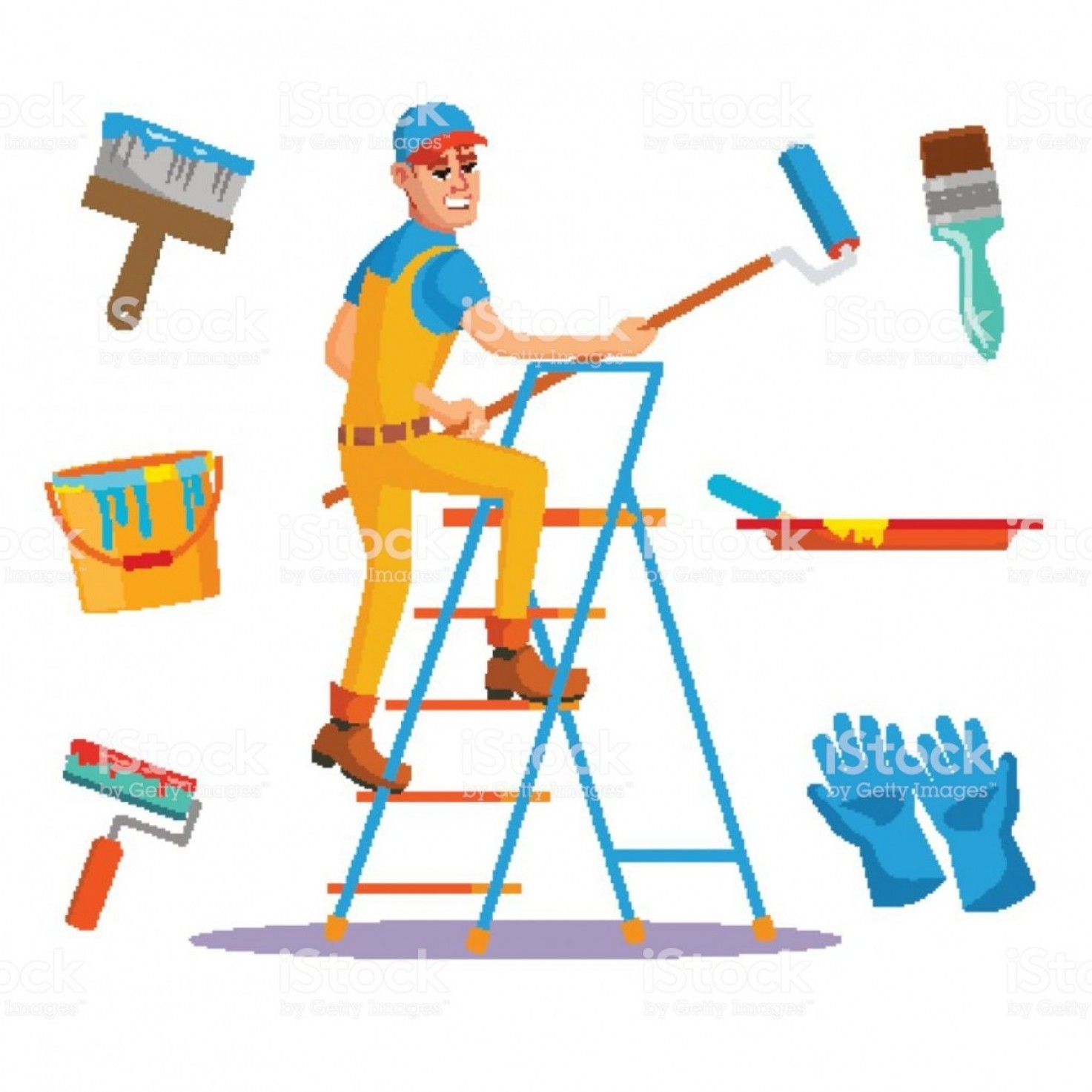 Vector clipart house painter clip library Classic Painter Vector Painting Wall With Brush House ... clip library