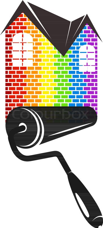 Vector clipart house painter picture library Roller, paint, home, house, painting, ... | Stock vector ... picture library