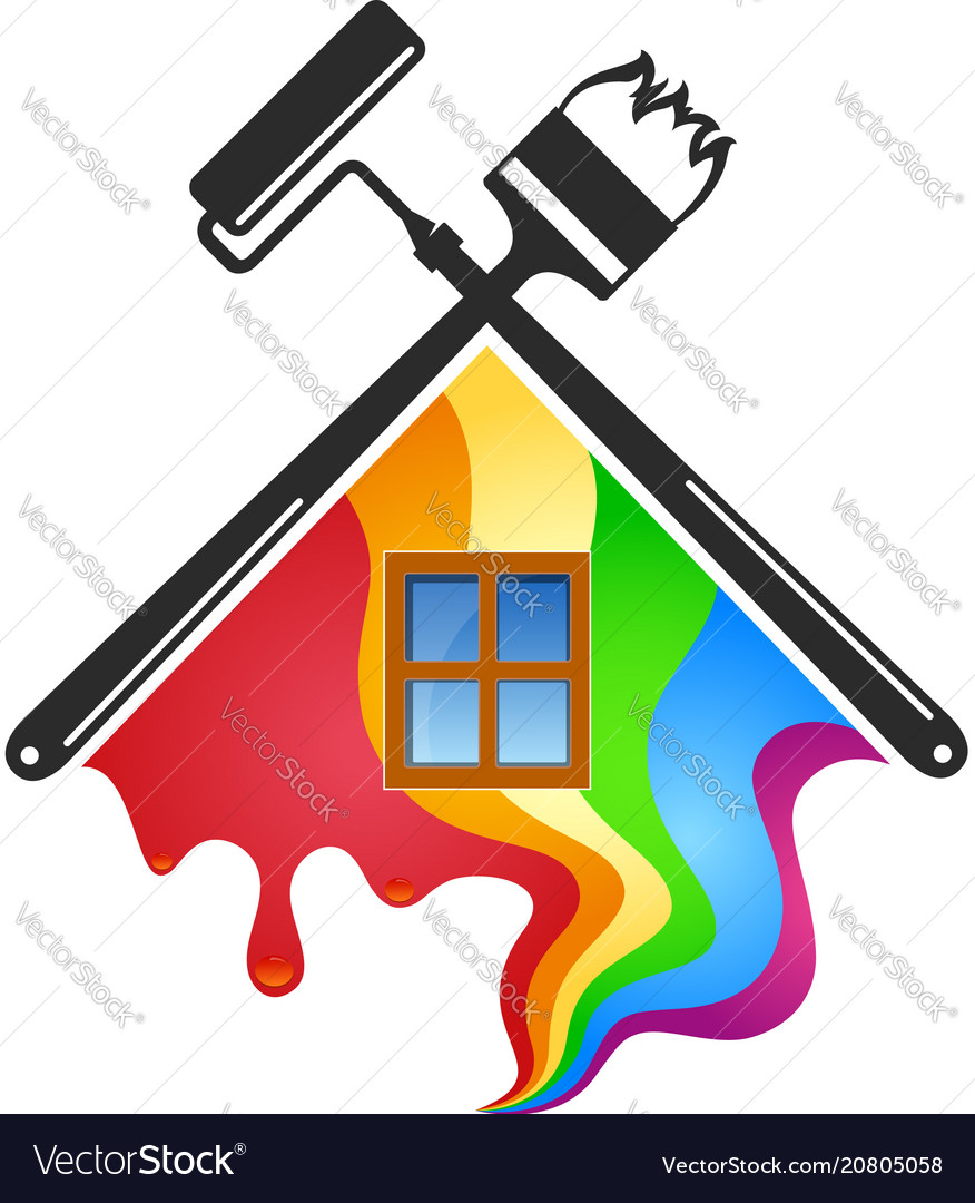 Vector clipart house painter clip royalty free Roller and brush for painting houses clip royalty free