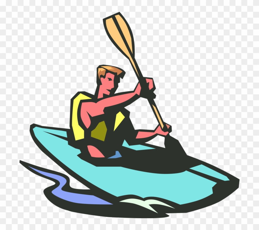 Vector clipart kayak clipart download Png Free Stock Kayaker Kayaks Rapids With Paddle Vector ... clipart download