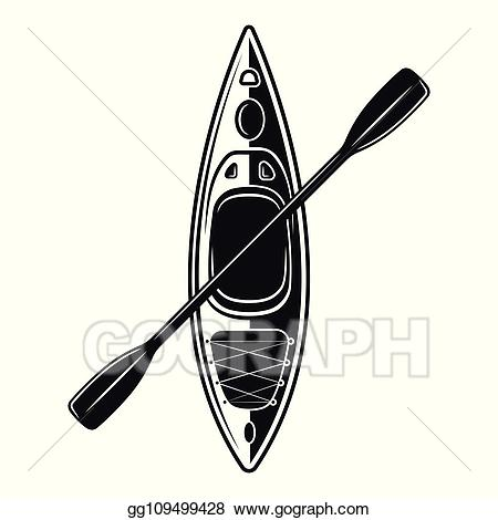 Vector clipart kayak clip art free library Vector Illustration - Kayak boat with paddle vector black ... clip art free library