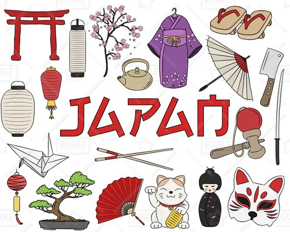 Vector clipart packs svg black and white library Japan Clipart Vector Pack Japanese Doodles Asia Etsy ... svg black and white library
