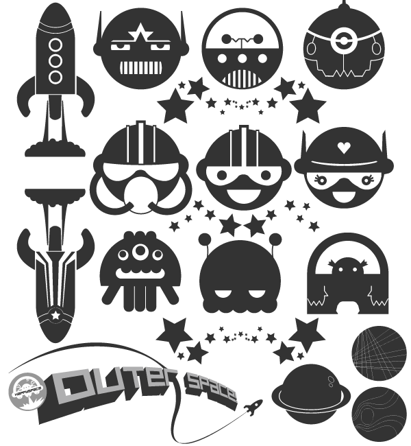 Vector clipart packs black and white library Free Space Vector Pack black and white library