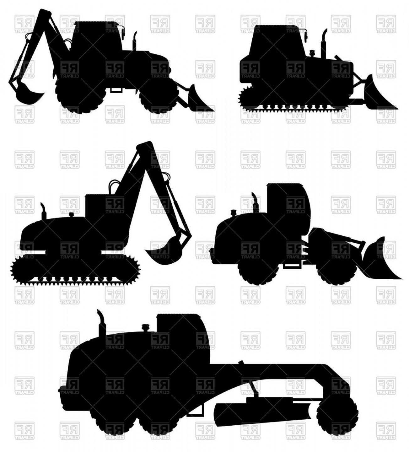 Vector clipart paver man freeuse download Silhouette Of Construction Work Machinery Dozer Excavator ... freeuse download