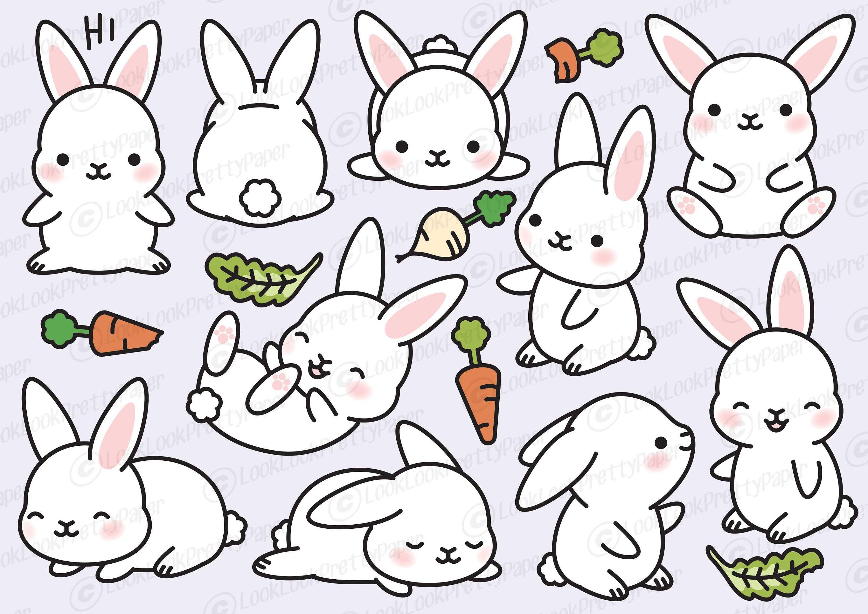 Vector clipart set animals clip transparent Premium Vector Clipart - Kawaii Bunny - Cute Bunny Clipart ... clip transparent