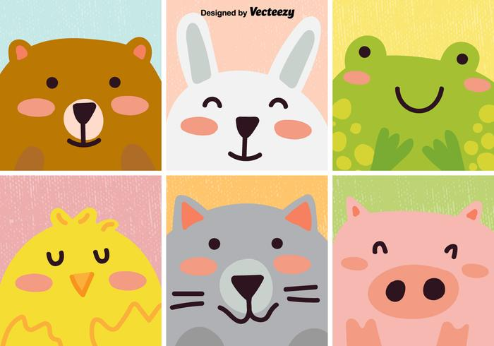 Vector clipart set animals png library stock Vector Set Of Cute Cartoon Animal - Download Free Vectors ... png library stock
