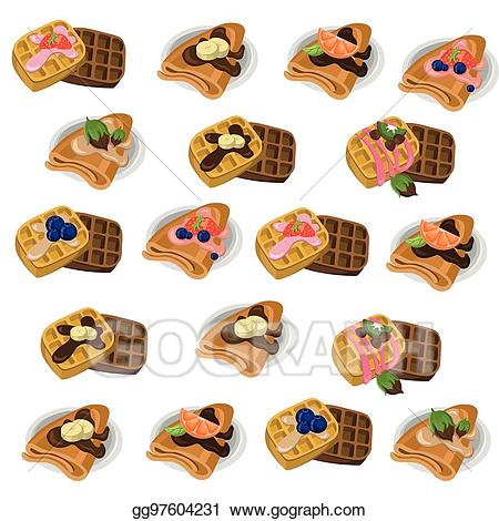 Vector clipart set waffle banner royalty free Vector Illustration - Pancakes and waffle set chocolate ... banner royalty free