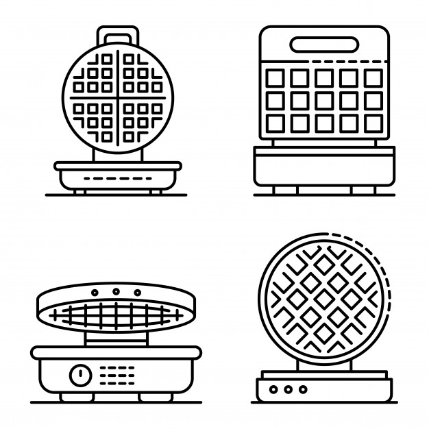 Vector clipart set waffle freeuse library Waffle-iron icons set. outline set of waffle-iron vector ... freeuse library