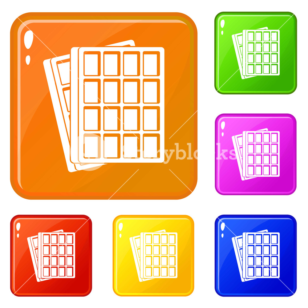 Vector clipart set waffle image library download Waffle icons set collection vector 6 color isolated on white ... image library download