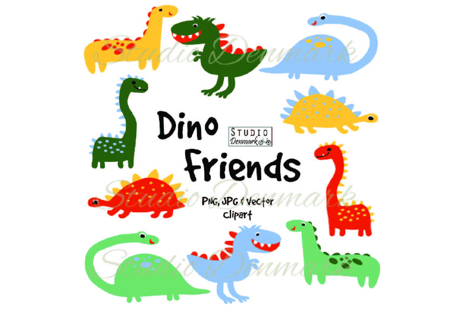 Vector cute clipart svg stock Dinosaur Clipart and Vectors - Cute Colorful Dino Friends svg stock