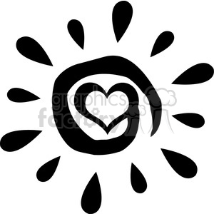 Vector design clipart black and white svg freeuse library black abstract sun silhouette with heart simple design vector illustration  isolated on white background clipart. Royalty-free clipart # 399980 svg freeuse library