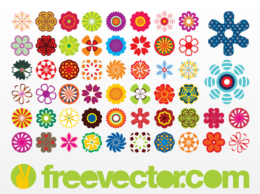 Vector flowers free banner black and white Vector Flowers Icons Vector Art & Graphics | freevector.com banner black and white