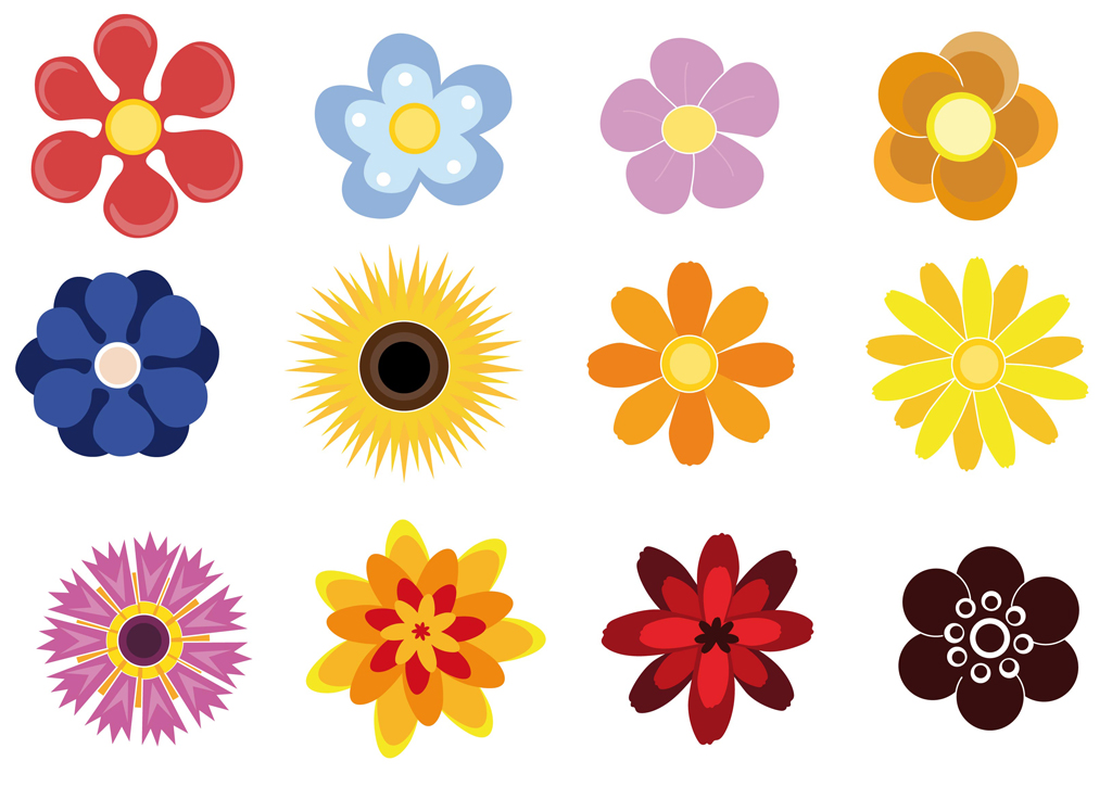 Vector flowers free clip transparent Cute Flowers Free Vector / 4Vector clip transparent
