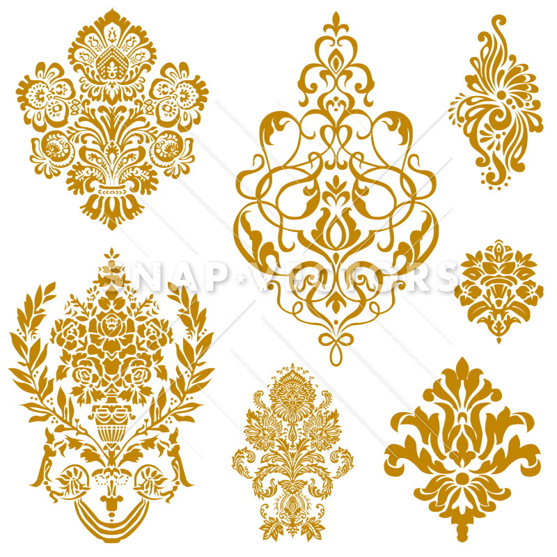 Vector gold clipart transparent stock Vector Clipart Gold Damask and Floral Ornament Set transparent stock