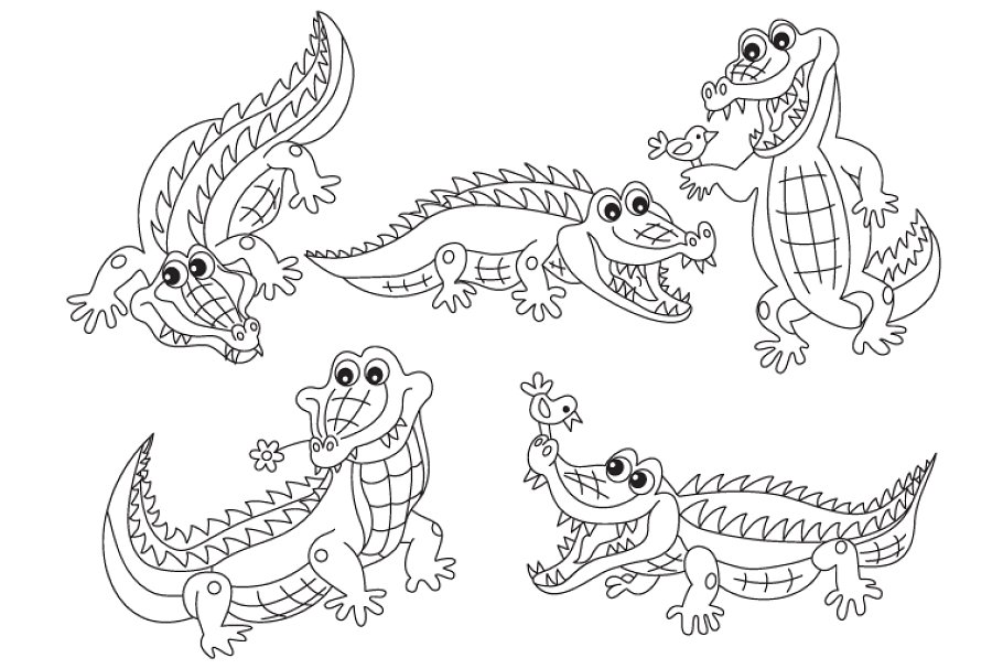 Vector illustrations and clipart safari black and white transparent library Vector Black & White Crocodile Set transparent library