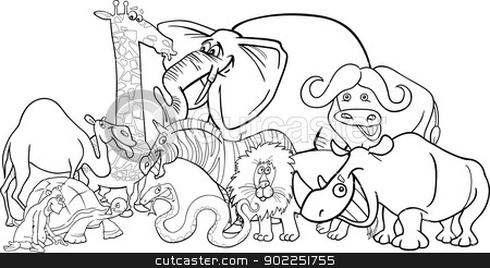 Vector illustrations and clipart safari black and white banner black and white download african safari animals cartoon for coloring stock vector banner black and white download