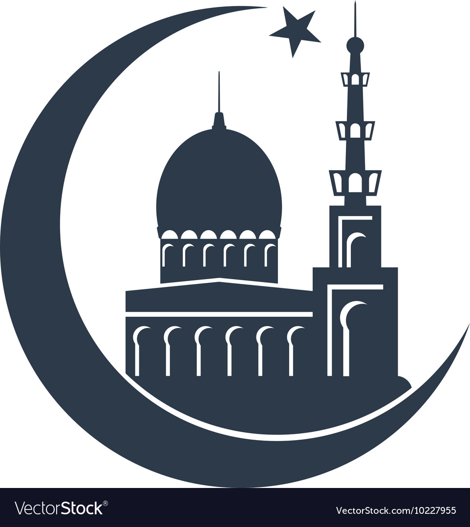 Vector masjid clipart graphic transparent download Islamic mosque black silhouette graphic transparent download