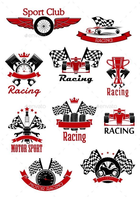 Vector racing and motorsports clipart royalty free library Motorsport symbols framed by ribbon banners and stars for ... royalty free library
