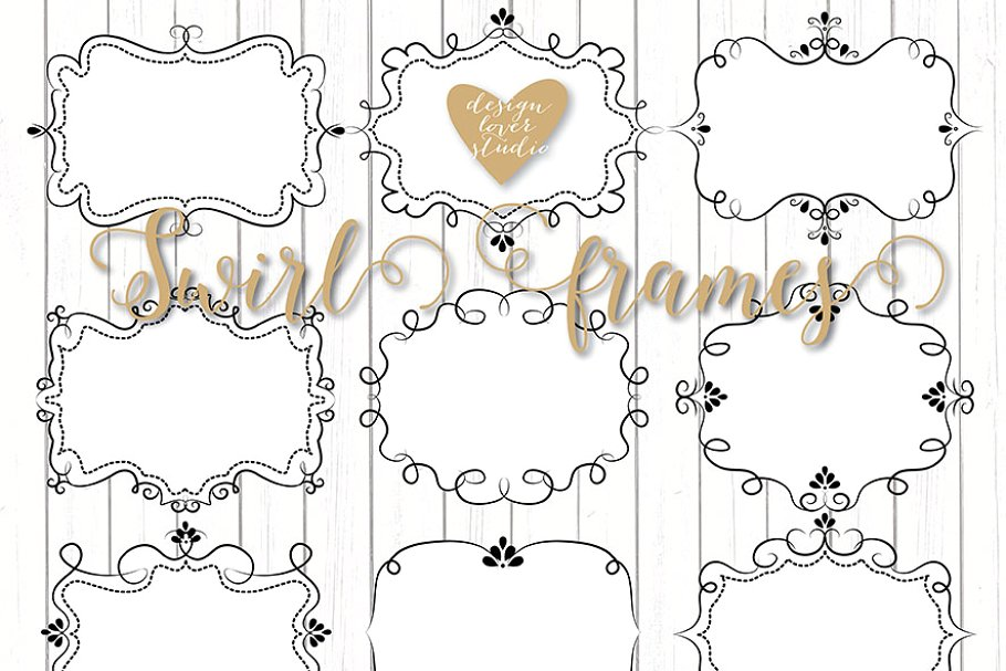 Vector rustic frame clipart png free Vector Swirl Frames clipart png free