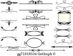 Vector scroll clipart banner black and white EPS Illustration - Vector victorian ornament and scroll ... banner black and white