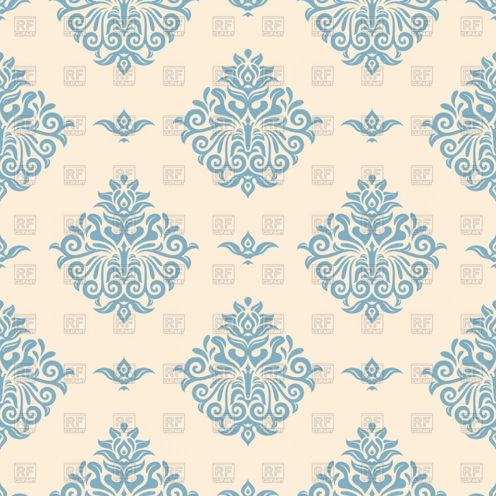 Wallpaper clipart vector jpg freeuse download Blue Vintage Wallpaper With Victorian Ornament Vector ... jpg freeuse download