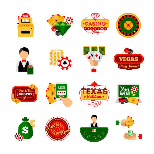 Vegas clipart free icon clip black and white Casino decorative icon set Vector   Free Download clip black and white