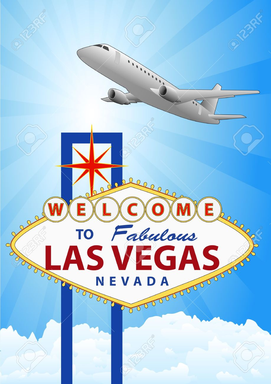 Vegas plane clipart svg black and white download Illustration Of Las Vegas Signal With Airplane Royalty Free ... svg black and white download